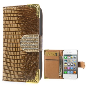 Diamond Magnetic Flap Glossy Lizard Pattern Leather Shell for iPhone 4S 4 w/ Card Slots - Brown