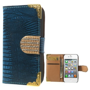 Diamond Magnetic Flap Glossy Lizard Pattern for iPhone 4S 4 Card Slots Leather Case - Blue