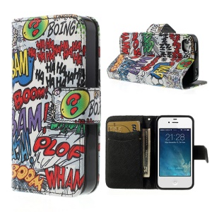 Graffiti HAHA BOOM Folio Wallet Leather Case with Stand for iPhone 4 4S