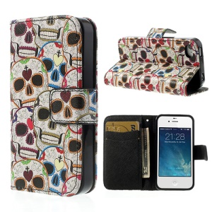 Colorful Skull Heads Wallet Leather Protective Case Stand for iPhone 4 4S