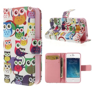 Multiple Owls Magnetic Leather Cover for iPhone 4 4S with Wallet & Stand