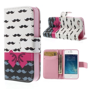 Mustaches & Bowknot Leather Stand Shell with Wallet for iPhone 4 4S