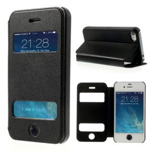 Table Talk Up Down Open Windows Leather Stand Case for iPhone 4 4S w/ Diamond Home Button - Black