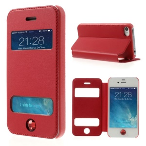 Up Down Open Windows Protective Leather Shell Stand for iPhone 4 4S w/ Diamond Home Button - Red