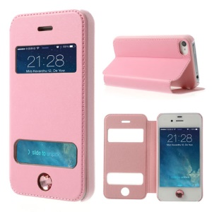 For iPhone 4 4S Up Down Open Windows Leather Skin Case w/ Diamond Home Button - Pink