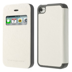 White Mercury Wow Bumper View Leather & TPU Case for iPhone 4 4S