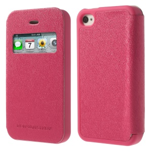 Rose Mercury Wow Bumper View Leather & TPU Case for iPhone 4 4S
