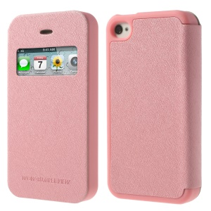 Pink Mercury Wow Bumper View Leather & TPU Case for iPhone 4 4S