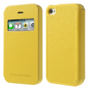Yellow Mercury Goospery Wow Bumper View Leather & TPU Cover for iPhone 4 4S