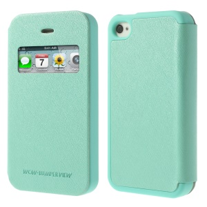 Cyan for iPhone 4 4S Mercury Goospery Wow Bumper View Leather & TPU Cover
