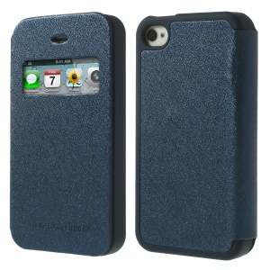 Dark Blue for iPhone 4 4S Mercury Goospery Wow Bumper View Leather & TPU Shell