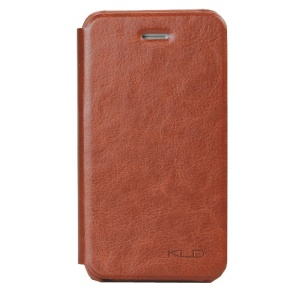 Brown KLD England Series Side Flip Leather Case for iPhone 4s 4
