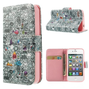 For iPhone 4s 4 Magnetic Blood Sweat Vector Poster Pattern Leather Wallet Stand Case