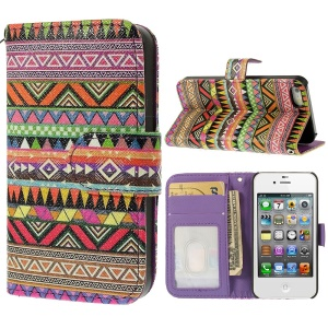 Geometric Tribal Pattern Leather Wallet Case for iPhone 4s 4 w/ Stand