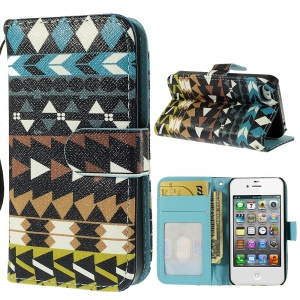 Stylish Tribal Pattern Leather Wallet Cover for iPhone 4s 4 w/ Stand