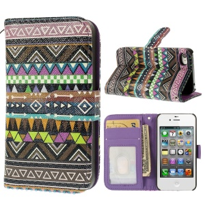 Tribal Stripe Pattern Wallet Leather Case for iPhone 4s 4 w/ Card Slots and Stand