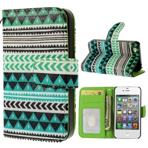 Aztec Tribal Pattern Card Holder Leather Case for iPhone 4s 4 w/ Stand
