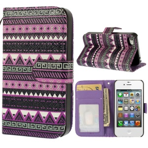 Ethnic Tribal Pattern Card Holder Leather Cover for iPhone 4s 4 w/ Stand
