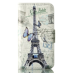 Butterflies & Eiffel Tower Magnetic Wallet Leather Flip Case w/ Stand for iPhone 4s 4