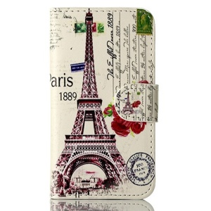 Paris 1889 Eiffel Tower for iPhone 4s 4 Magnetic Wallet Leather Flip Cover w/ Stand