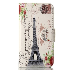 For iPhone 4s 4 Magnetic Eiffel Tower & Postcard Leather Case w/ Stand & Card Slots