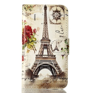 For iPhone 4s 4 Magnetic Roses & Eiffel Tower Leather Shell w/ Stand & Card Slots