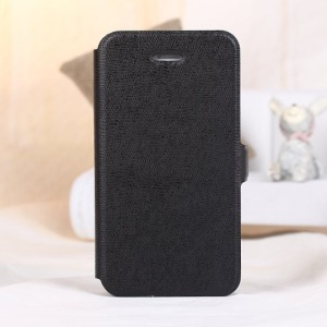 Magnetic Textured Card Holder Leather Stand Case for iPhone 4s 4 - Black