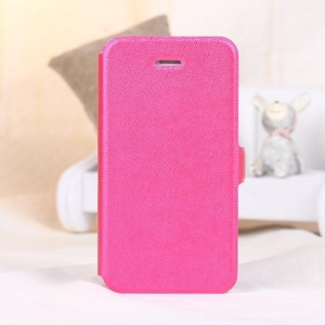 Magnetic Textured Card Slot Leather Stand Cover for iPhone 4s 4 - Rose