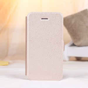 Magnetic Textured Card Slot Leather Stand Cover for iPhone 4s 4 - Champagne