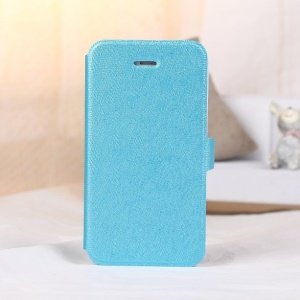 For iPhone 4s 4 Magnetic Textured Leather Flip Case w/ Card Slot & Stand - Blue