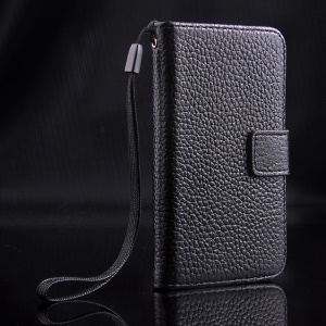 For iPhone 4s 4 Magnetic Litchi Texture Full-grain Genuine Leather Wallet Stand Case - Black