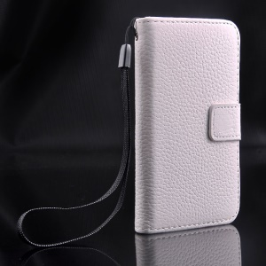 For iPhone 4s 4 Magnetic Litchi Texture Full-grain Genuine Leather Wallet Stand Case - White