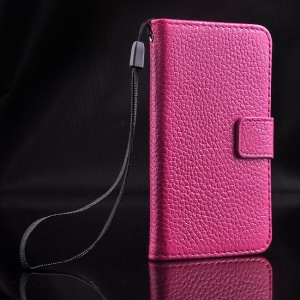 For iPhone 4s 4 Magnetic Litchi Texture Full-grain Genuine Leather Wallet Stand Cover - Rose