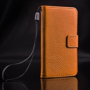 For iPhone 4s 4 Magnetic Litchi Texture Full-grain Genuine Leather Wallet Stand Shell - Brown