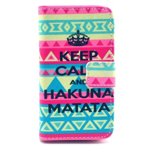 Tribe & Keep Calm and Hakuna Matata Pattern for iPhone 4S 4 Leather Flip Cover