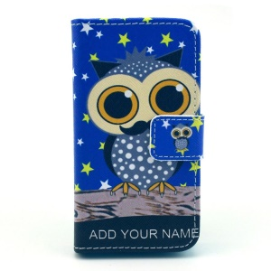 For iPhone 4S 4 Owl with Mustache Pattern Leather Card Holder Case w/ Stand