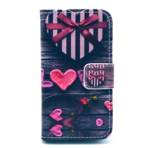 Love and Heart Box Pattern for iPhone 4S 4 Leather Flip Stand Case w/ Card Slots