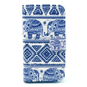 For iPhone 4S 4 Tribal Style Elephant Pattern Leather Card Slot Case w/ Stand