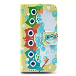 For iPhone 4S 4 Cute Colored Owls Pattern Leather Card Slot Cover w/ Stand