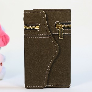 Squirrel Grain Zipper PU Leather + Removable PC Case for iPhone 4s 4 - Army Green