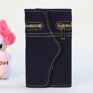 For iPhone 4s 4 Squirrel Grain Zipper PU Leather Skin + Removable PC Case - Dark Blue
