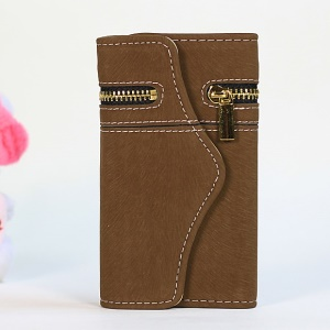 For iPhone 4s 4 Squirrel Grain Zipper PU Leather Skin + Removable PC Cover - Coffee