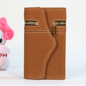For iPhone 4s 4 Squirrel Grain Zipper PU Leather Skin + Removable PC Cover - Brown