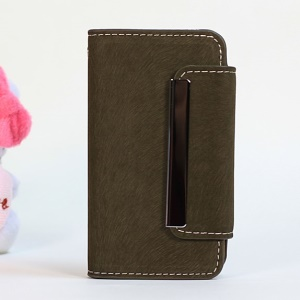Squirrel Skin Magnetic Flip PU Leather + Removable PC Cover for iPhone 4s 4 - Army Green