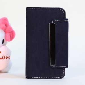 Squirrel Skin Magnetic Flip PU Leather + Removable PC Case for iPhone 4s 4 - Dark Blue