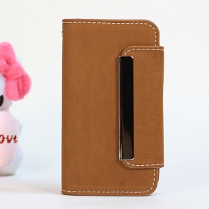 Squirrel Skin for iPhone 4s 4 Magnetic Flip PU Leather + Removable PC Shell Cover - Brown