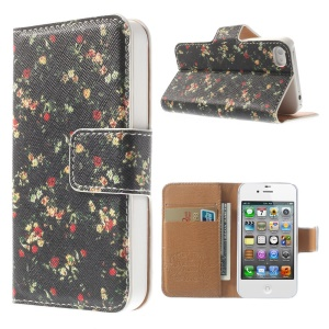 Pretty Floret Black Background Wallet Folio Leather Case w/ Stand for iPhone 4 4S