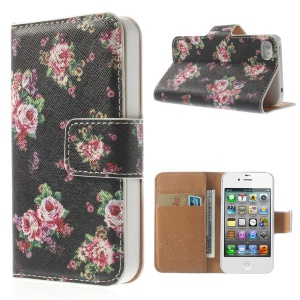 Blooming Peony Black Background Wallet Folio Leather Cover w/ Stand for iPhone 4 4S