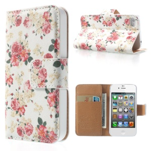 Beautiful Rose White Background Wallet Folio Leather Shell w/ Stand for iPhone 4 4S