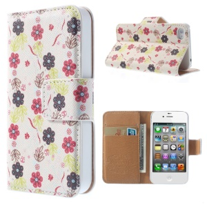 Cartoon Flower Wallet Folio Leather Stand Case for iPhone 4 4S